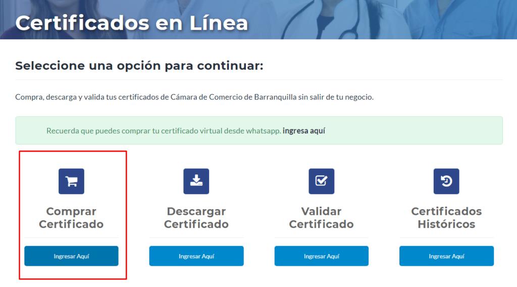 Imagen; Certificado de Cámara de Comercio