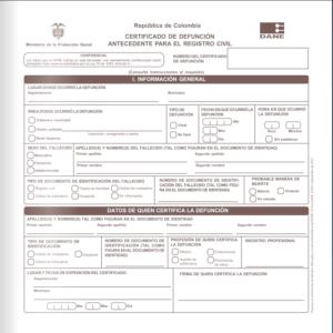 Imagen: Certificado de Defunción | Obtención y llenado