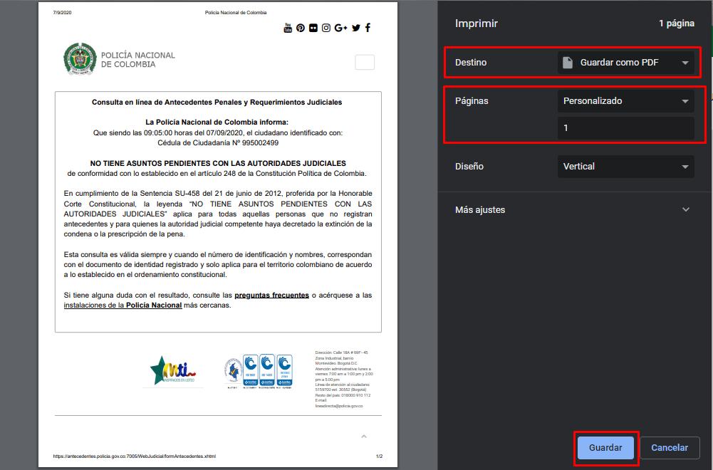Imagen: Certificado de Pasado Judicial | DAS