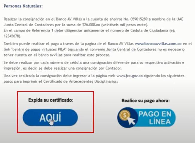 Imagen: Certificado Junta Central de Contadores