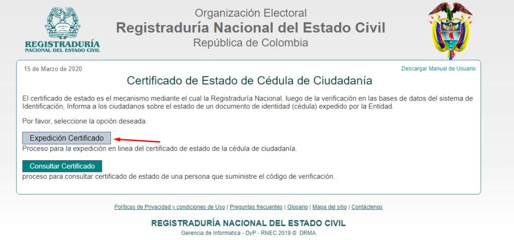 Imagen: Certificado de Cédula
