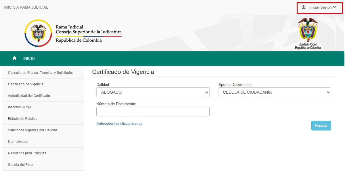 Imagen: Certificado de Vigencia Tarjeta Profesional Abogado