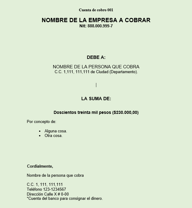 Imagen: Formato Cuenta de Cobro | Word y PDF para Descargar