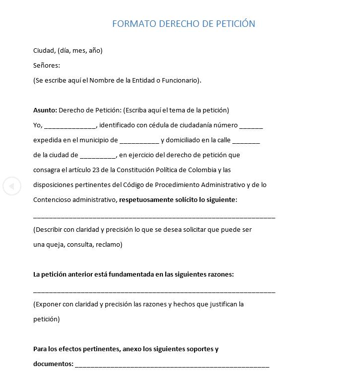 Imagen: Formato Derecho de Petición | PDF y Word