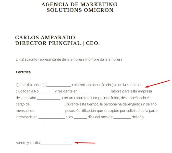 Imagen: Modelo de Certificación Laboral / Formato de Carta para Descargar